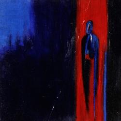 Blau in Rot in Blau  - 50 x 50 Mischtechnik auf Leinwand 2008