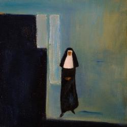Die Klosterfrau - 30 x 30 Mischtechnik auf Leinwand 2011