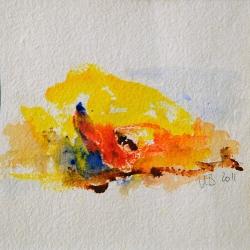 Beduinenwanderung - 15 x 15 Acryl auf handgeschöpftem Papier 2011