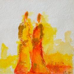 Begegnung - 15 x 15 Acryl auf handgeschöpftem Papier 2011