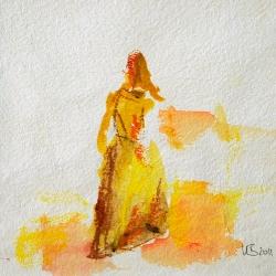 Die Suchende - 15 x 15 Acryl auf handgeschöpftem Papier 2011