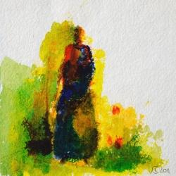 Frau am Brunnen - 15 x 15 Acryl auf handgeschöpftem Papier 2011