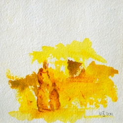 Stammesmutter - 15 x 15 Acryl auf handgeschöpftem Papier 2011